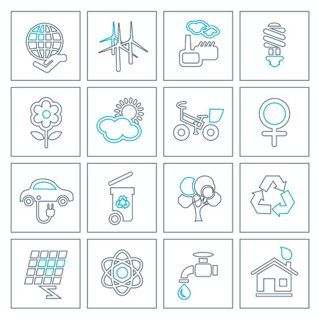hause: Thin line ecology icons set. Modern design style, vector illustration, isolated on the white background