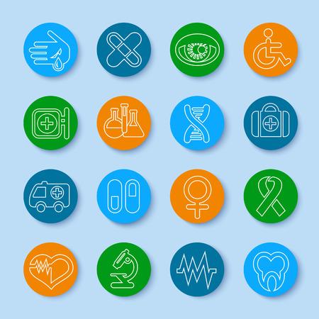 eye bandage: Thin line medical icons set. Modern design style, vector illustration