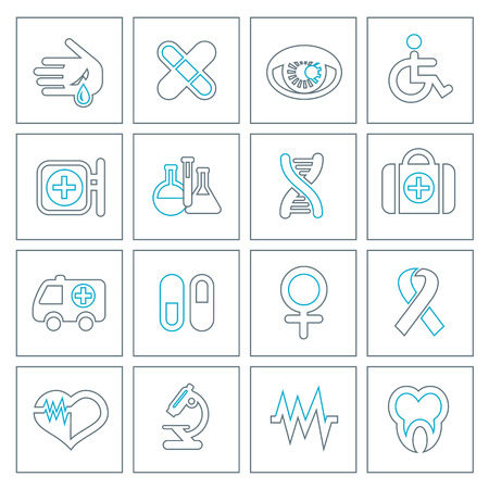 Thin line medical icons set. Modern design style, vector illustration, isolated on the white background Vector