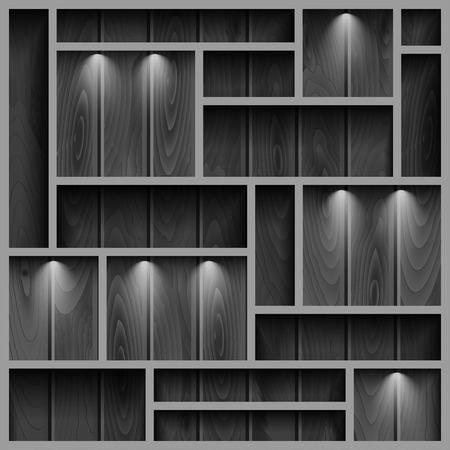 store front: Empty shelves on the wooden wall in gray colors,  illuminated with reflector ligh, vector illustration