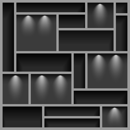 Empty shelves  illuminated with reflector ligh, gray colored, vector illustration, 10eps Vector