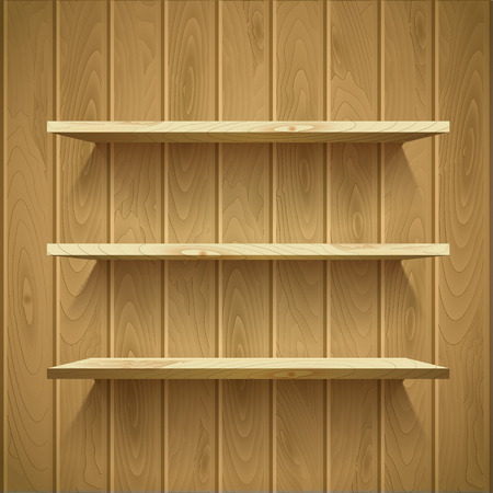 ligh: Empty shelves on the wooden wall,  illuminated with reflector ligh, vector illustration