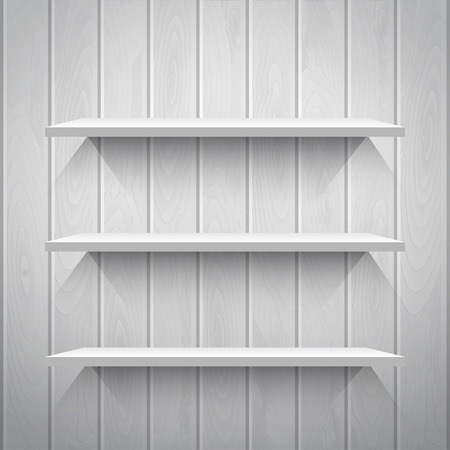 books library: Empty white shelves on the wooden wall in gray colors, vector background