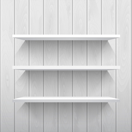 book shelves: Empty white shelves on the wooden wall in gray colors, vector background