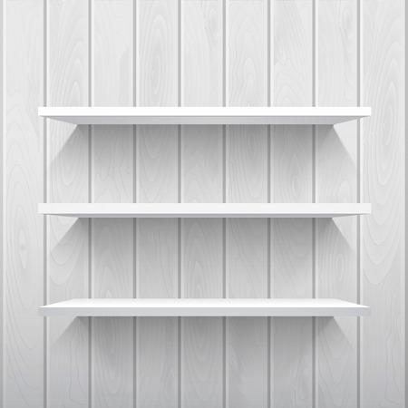 estanterias: Estantes blancos vac�os en la pared de madera en colores gris, vector de fondo