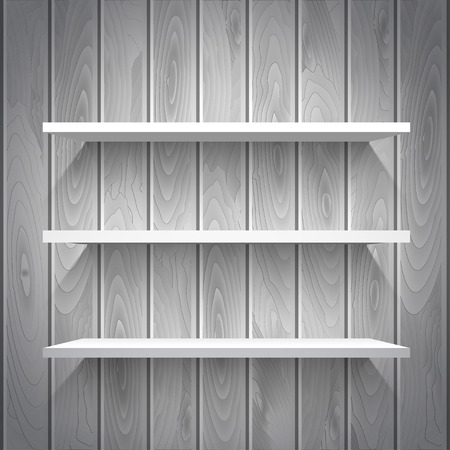 Empty white shelves on the wooden wall in gray colors, vector background Vector