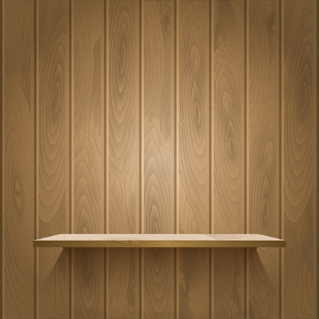 book store: Empty shelf on the wooden wall,  illuminated with reflector ligh, vector illustration Illustration
