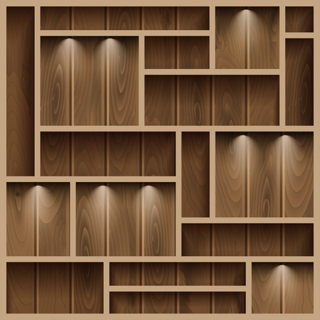 compartments: Empty shelves on the wooden wall,  illuminated with reflector light, vector illustration Illustration