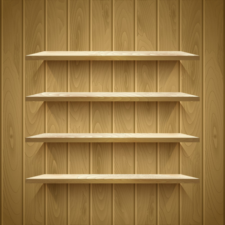 Empty shelves on the wooden wall,  vector illustration Vector