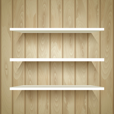 store display: Empty shelves on the wooden wall,  vector illustration