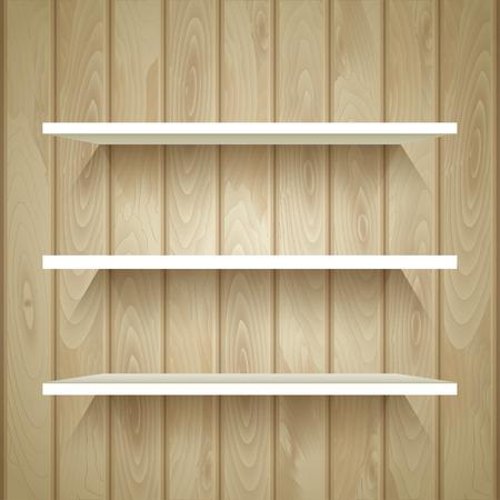 Empty shelves on the wooden wall, vector illustration Vector Illustration