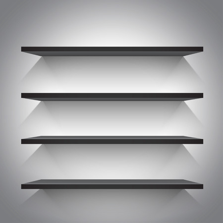 furniture detail: Empty black shelves on light grey background. Vector illustration