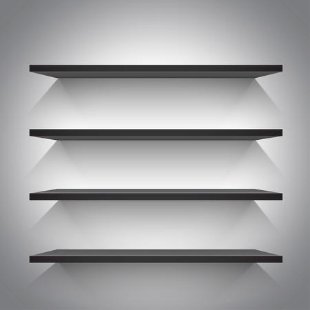 book store: Empty black shelves on light grey background. Vector illustration