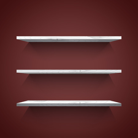 book store: Empty white shelves with shadow on the dark wall. Vector illustration