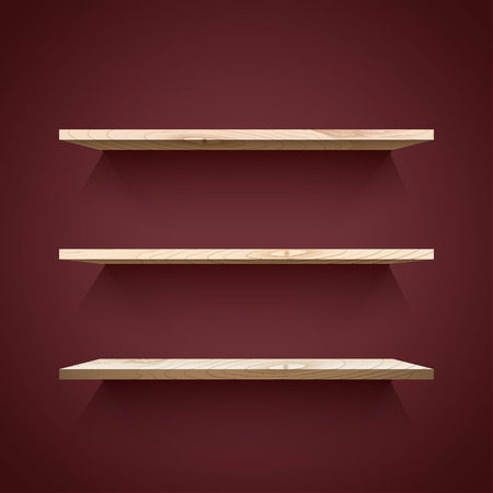 wooden shelves: Empty wooden  shelves with shadow on the dark wall. Vector illustration