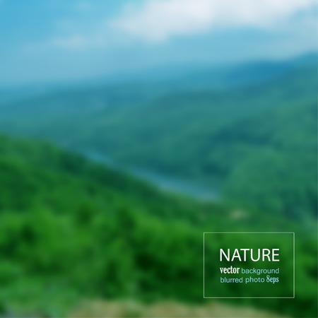 Landscape blurred photo background. Vector illustration