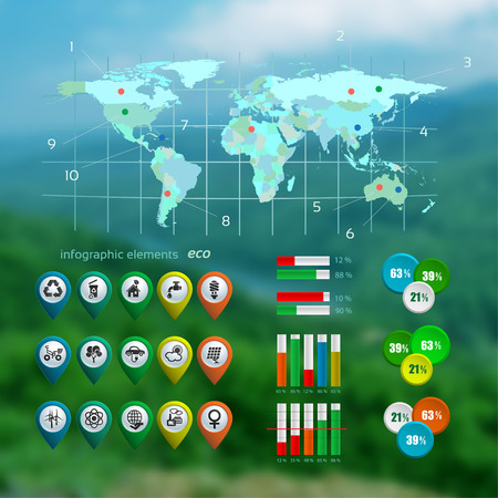 Ecology infographic with map on the blurred photo background , web design, vector illustration Vector