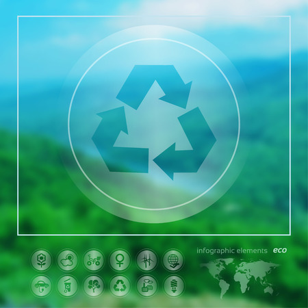 recycle symbol vector: Transparent ecology  icon on the blurred photo background. Recycle Symbol.  Vector illustration Illustration