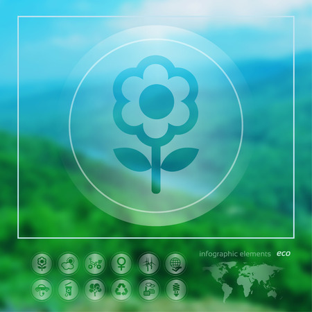 Transparent ecology  icon on the blurred photo background. Flower.  Vector illustration Vector