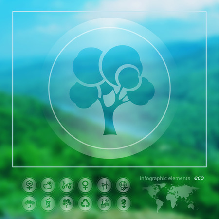 Transparent ecology  icon on the blurred photo background. Forest tree. Vector illustration Vector