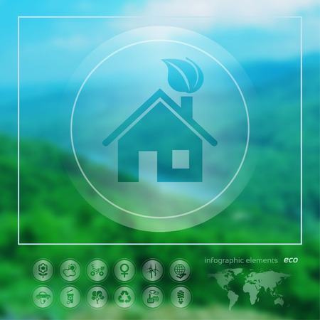 background house: Transparent ecology  icon on the blurred photo background.  Green house. Vector illustration Illustration