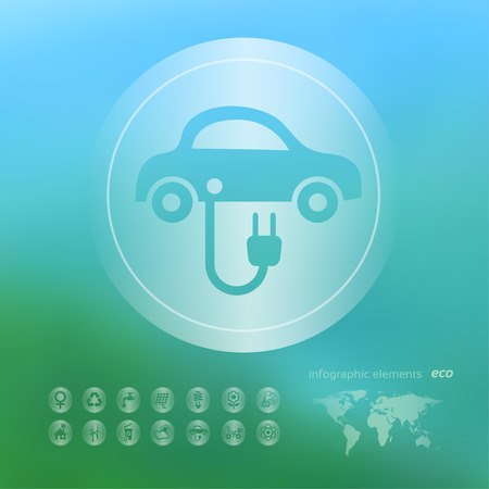 powered: Transparent ecology  icon on the blurred  background. Electric powered car.  Vector illustration