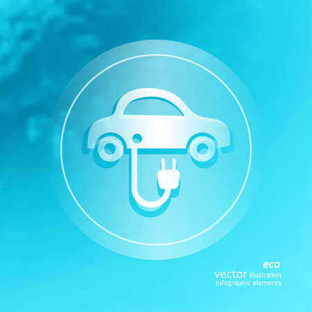 petrol powered: Transparent ecology  icon on the blurred  background.  Illustration