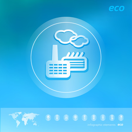 illustration industry: Transparent ecology  icon on the blurred  background, industry factory. Vector illustration