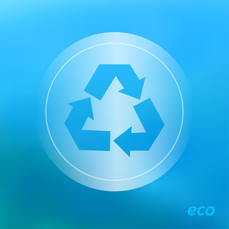 recycle symbol vector: Transparent ecology  icon on the blurred  background. Recycle Symbol.  Vector illustration Illustration