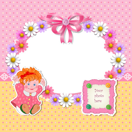 invitation frame: Baby shower for girl with flowers and girl. Vector illustration