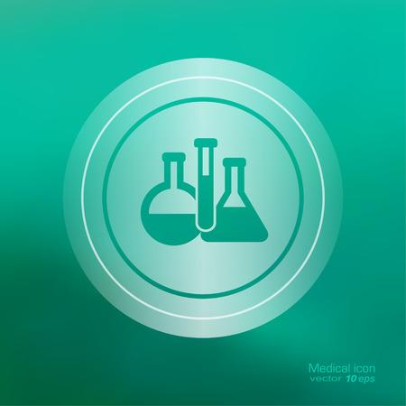 medical laboratory: Medical icon on the blurred background. Laboratory equipment symbol. Vector illustration