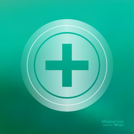 pharmacy symbol: Medical icon on the blurred background.  Pharmacy cross  symbol. Vector illustration