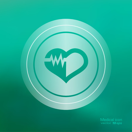 taking pulse: Medical icon on the blurred background. Cardiogram  symbol. Vector illustration