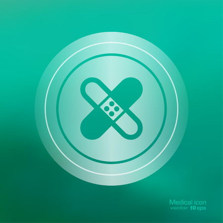 adhesive plaster: Transparent medical  icon on the blurred  background. Adhesive plaster symbol. Vector illustration