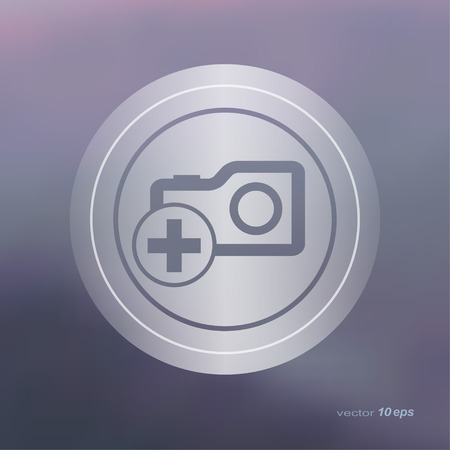 camera symbol: Web icon on the blurred background. Camera symbol.  Vector illustration
