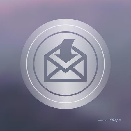 backwards: Web icon on the blurred background. Send email symbol.  Vector illustration