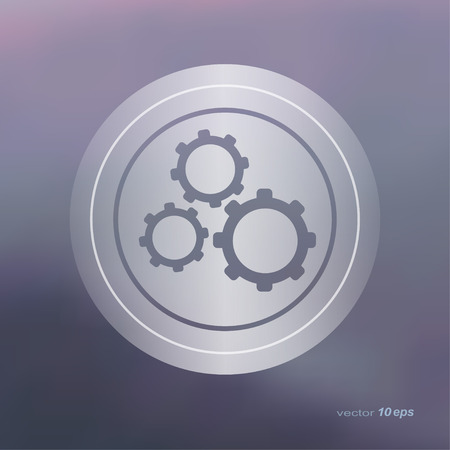 computer repairing: Web icon on the blurred background.Cog Wheel Setting  Symbol.  Vector illustration