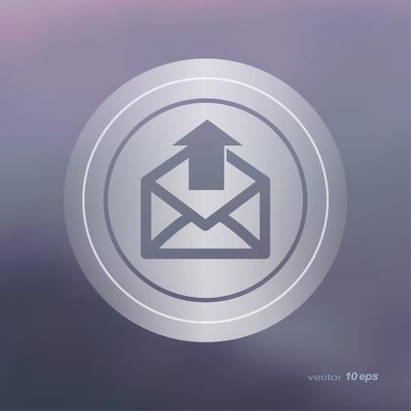 backwards: Web icon on the blurred background.  Email symbol.  Vector illustration