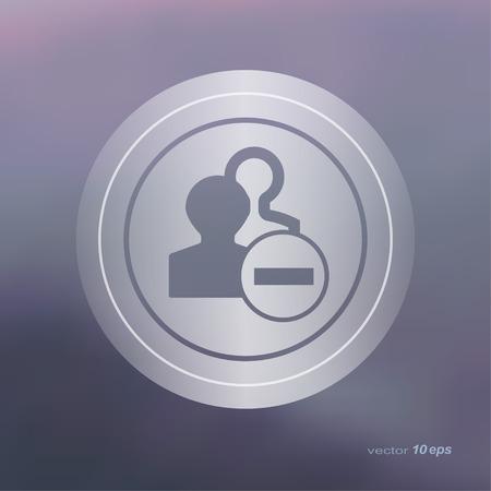 unanimous: Web icon on the blurred background. Remove symbol.  Vector illustration