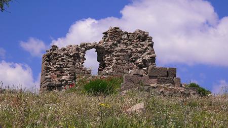 Pergamon museum, ruins of ancieny city, beautiful view in spring, Bergama, Turkey