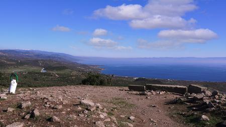 Assos (Behramkale), ruins of ancient acropolis on the sea background, Turkey, Canakkale