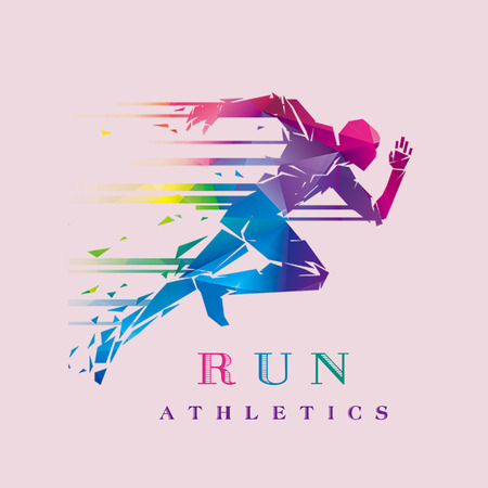 Running logo sport concept set isolated on pink background.vector illustration .template. editable. Standard-Bild - 105516501