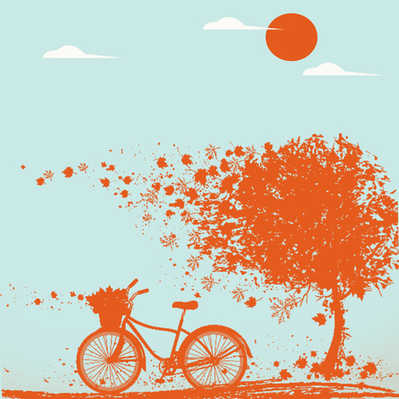 Illustration of autumn atmosphere with bikes and falling leaves