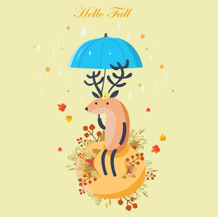The Autumn Deer carries an umbrella with a background of rain and leaves falling