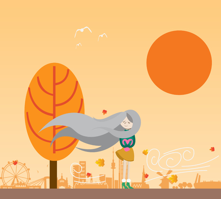 illustration of a girl in the late afternoon being exposed to autumn winds Ilustração