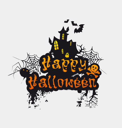 Halloween Design background with Happy Halloween and treat or trick lettering