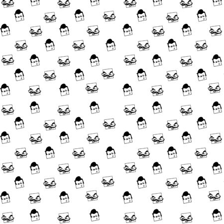 Vector Pattern With Emoticons face, Seamless Background Иллюстрация