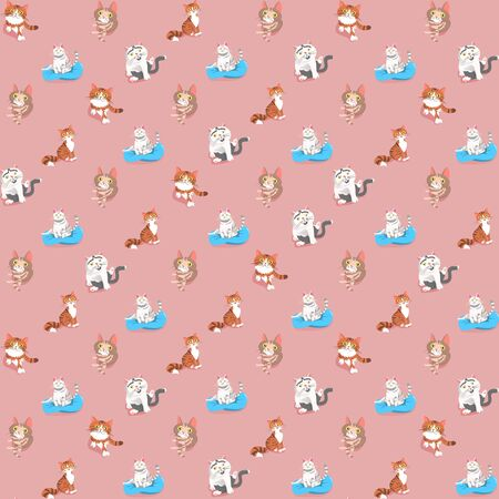 Vector seamless pattern with cats Иллюстрация