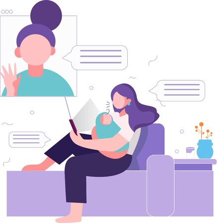 illustration of a woman with a baby making video calls