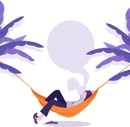 illustration of a person sleeping in a hammock